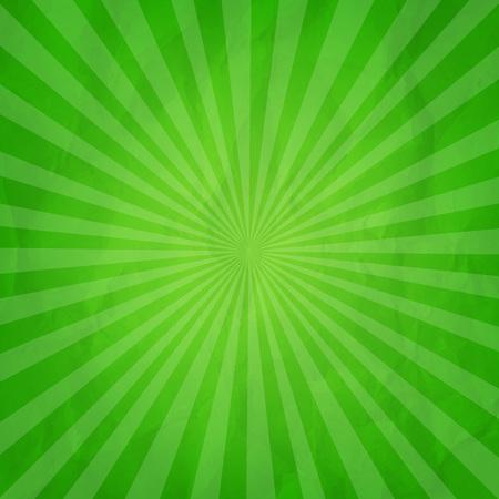 Crumpled Green Sunburst Background With Gradient Mesh, Vector Illustration