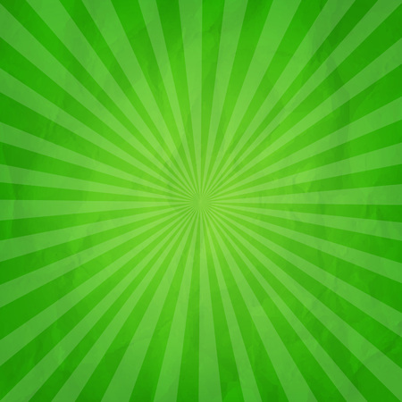Crumpled Green Sunburst Background With Gradient Mesh, Vector Illustration