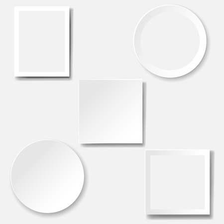 Frame Set Isolated White Background With Gradient Mesh, Vector Illustration Vettoriali