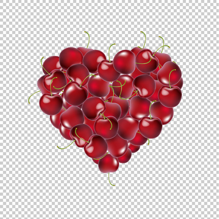 Heart From Cherry Transparent Background With Gradient Mesh, Vector Illustration