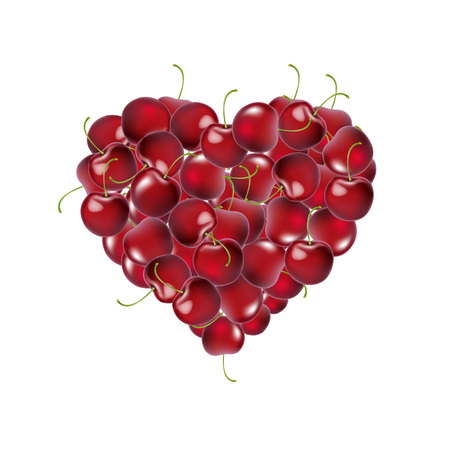 Heart From Cherry With Gradient Mesh, Vector Illustration Ilustração