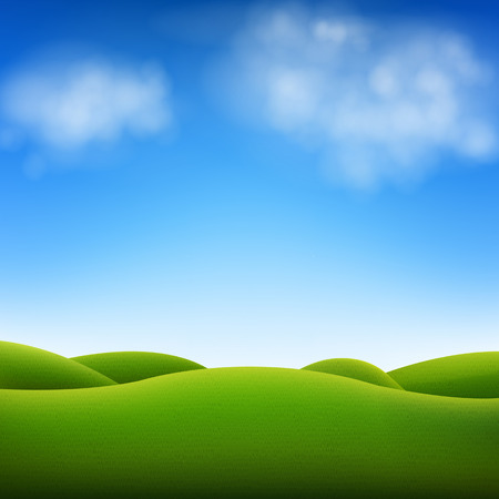 Blue Sky And Landscape With Gradient Mesh, Vector Illustration