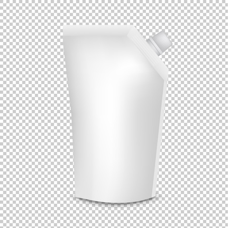 Plastic Pouch With Batcher Transparent Background With Gradient Mesh, Vector Illustration