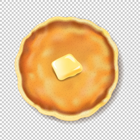 Pancake Isolated With Butter Transparent Background With Gradient Mesh, Vector Illustration