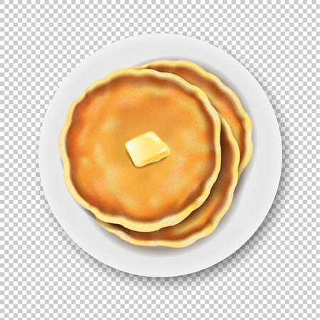 Plate With Pancake Isolated Transparent Background With Gradient Mesh, Vector Illustration 版權商用圖片 - 110427294