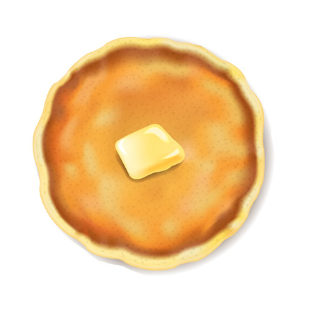 Pancake Isolated With Butter White Background With Gradient Mesh, Vector Illustration 일러스트