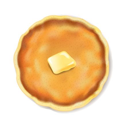 Panqueque aislado con mantequilla fondo blanco con malla de degradado, ilustración vectorial