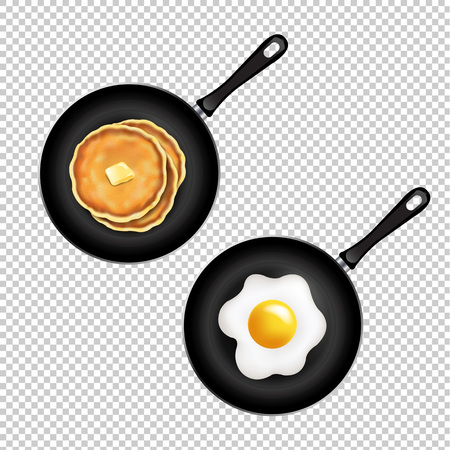 Pan With Pancake And Fried Eggs Isolated Transparent Background With Gradient Mesh, Vector Illustration