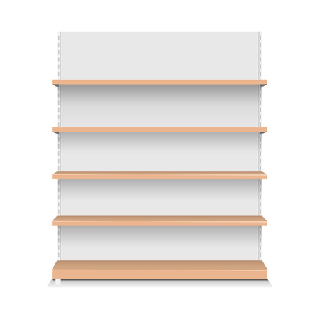 Emply Store Wooden Shelf Supermarket Stand, Vector Illustration