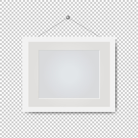 Picture White Frame Isolated Transparent Background With Gradient Mesh, Vector Illustration