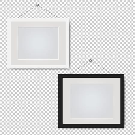 Picture Frame Set Isolated Transparent Background With Gradient Mesh, Vector Illustration
