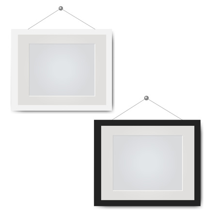 Picture Frame Set Isolated White Background With Gradient Mesh, Vector Illustration