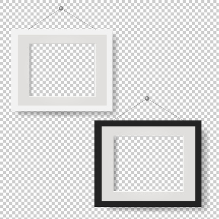 White Picture Frame Set Isolated Transparent Background With Gradient Mesh, Vector Illustration Stock Illustratie