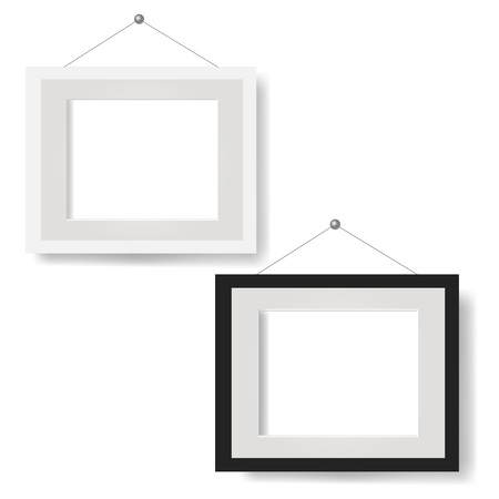 White Picture Frame Set Isolated White Background With Gradient Mesh, Vector Illustration Illustration