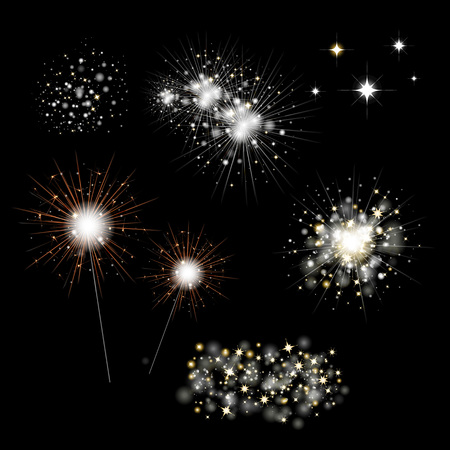 Set Of Fireworks And Bengal Light With Gradient Mesh, Vector Illustration Banque d'images - 127686794