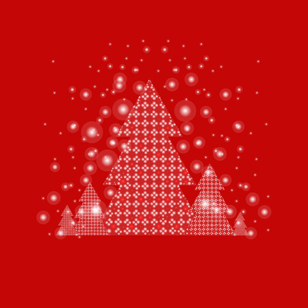 Xmas Postcard With Firtree With Gradient Mesh, Vector Illustration 일러스트