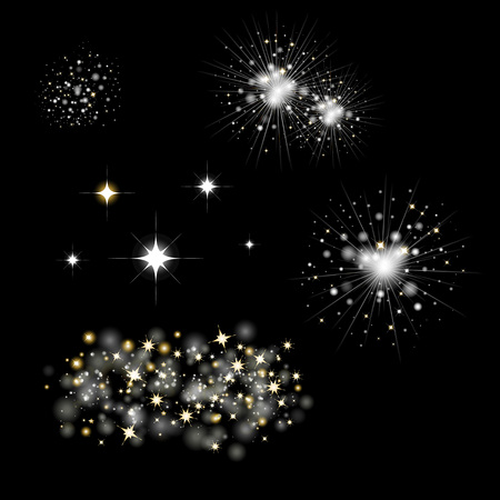 Set Of Fireworks And Bengal Light  Vector Illustration