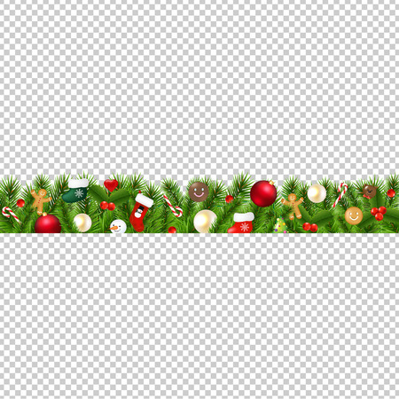 Christmas Border Isolated Transparent Background With Gradient Mesh, Vector Illustration