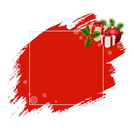 Merry Christmas Banner Red Blobs With Gradient Mesh, Vector Illustration Illustration