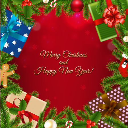 Merry Christmas Poster With Gradient Mesh, Vector Illustration 向量圖像