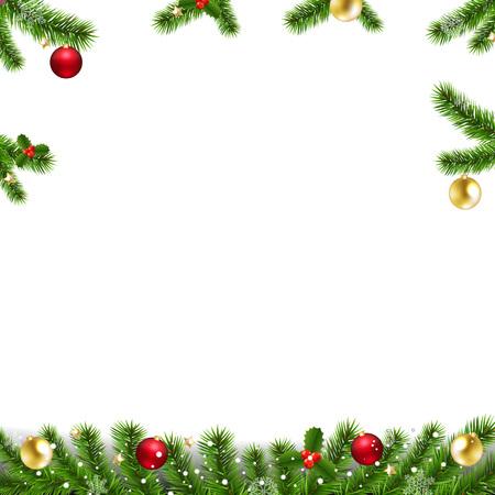 Guirnaldas de Navidad con abeto y juguetes de Navidad con malla de degradado, ilustración vectorial