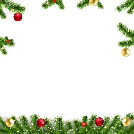 Xmas Garlands With Fir Tree And Christmas Toys With Gradient Mesh, Vector Illustration