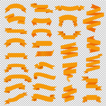 Orange Web Ribbon Big Set Transparent Background, Vector Illustration Ilustracja
