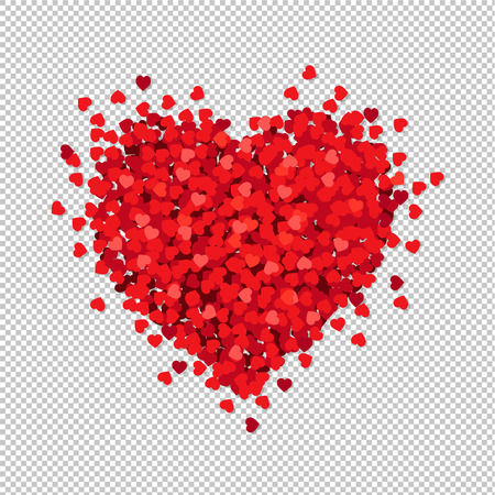 Red Heart Isolated Transparent Background, Vector Illustration Standard-Bild - 118612441