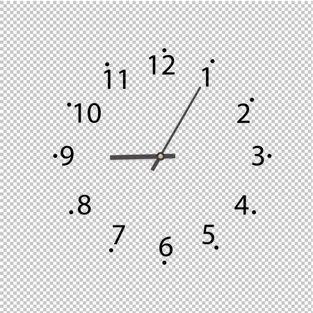 Clock On Transparent Background, Vector Illustration