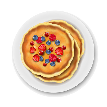 Plate With Pancake Isolated White Background With Gradient Mesh, Vector Illustration Иллюстрация