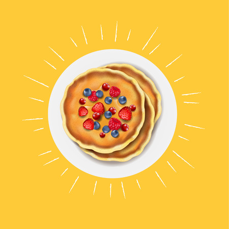 Pancakes With Fresh Berry With Gradient Mesh, Vector Illustration