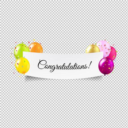 Happy Birthday Banner Transparent background With Gradient Mesh, Vector Illustration  イラスト・ベクター素材