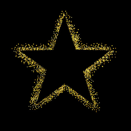 Glitter Star Isolated Black Background, Vector Illustration