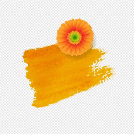 Orange Blot With Gerber Transparent Background With Gradient Mesh, Vector Illustration