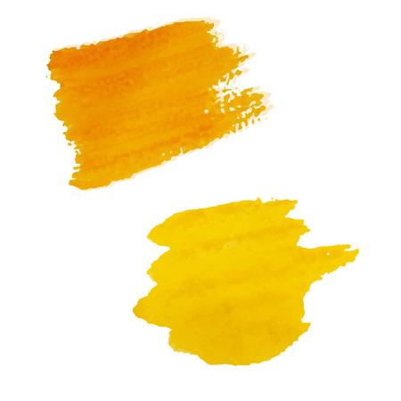 Yellow Blots Isolated, Vector Illustration