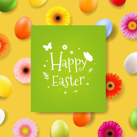 Happy Easter Day Banner With Gradient Mesh, Vector Illustration