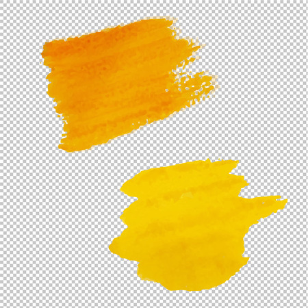 Yellow Blots Isolated Transparent Background, Vector Illustration Illustration