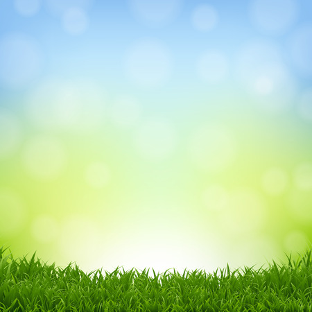 Fondo de naturaleza con borde de hierba con malla de degradado, ilustración vectorial