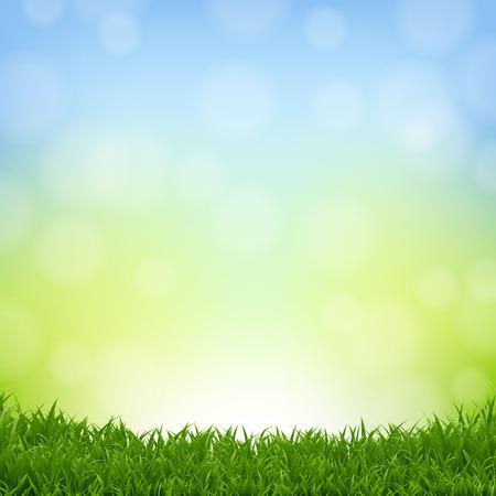 Sfondo della natura con bordo in erba con maglia sfumata, illustrazione vettoriale
