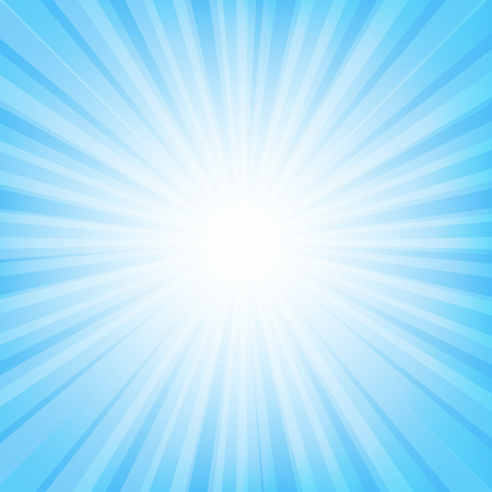 Blue Sunburst Banner With Beam With Gradient Mesh, Vector Illustration