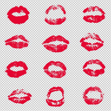 Rote weibliche Lippen Lippenstift Kuss Print Set Transparenter Hintergrund, Vektor-Illustration