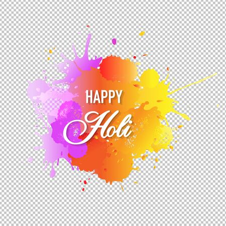 Happy Holi Card With Blobs Transparent background, Vector Illustration