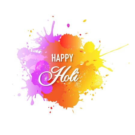 Happy Holi Card With Blobs White background, Vector Illustration