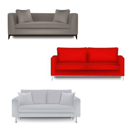 Three Sofa Bed With Isolated White Background With Gradient Mesh, Vector Illustration Banque d'images - 130488408
