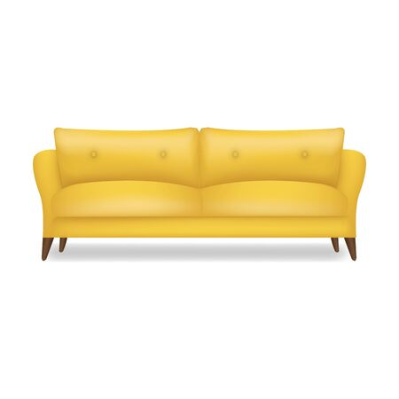 Yellow Sofa Isolated White Background With Gradient Mesh, Vector Illustration