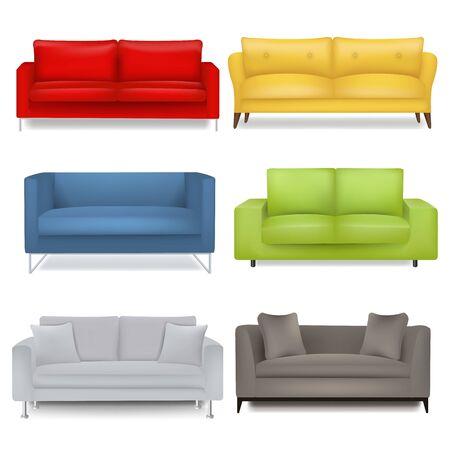 Sofa Big Set Isolated White Background With Gradient Mesh, Vector Illustration  Illustration