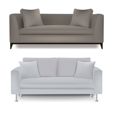 Two Sofa Bed With Isolated White Background With Gradient Mesh, Vector Illustration  Banque d'images - 130488466