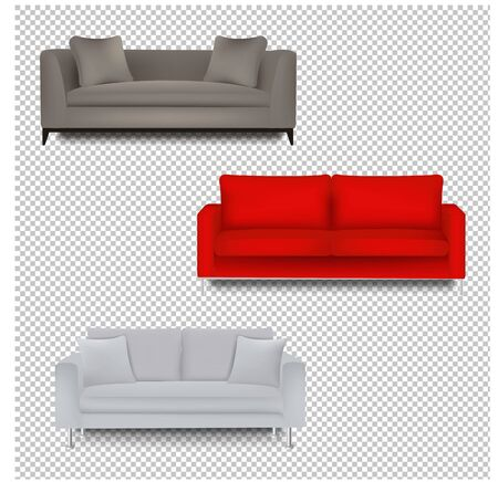 Three Sofa Bed With Isolated Transparent Background With Gradient Mesh, Vector Illustration Banque d'images - 130300120