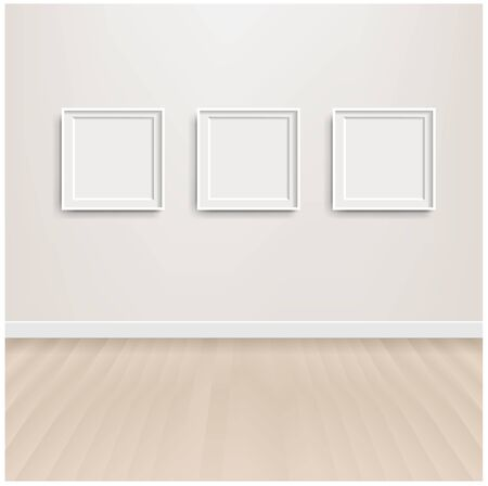 White Scandinavian Room Interior And Picture With Gradient Mesh, Vector Illustration Çizim