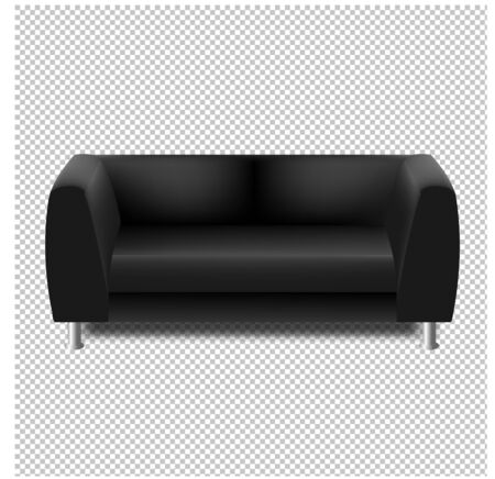 Black Sofa Isolated transparent Background With Gradient Mesh, Vector Illustration
